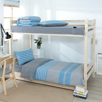 2020新品全棉水洗色织单人宿舍上下铺三件套 学生寝室套件 通用款0.9m床 梦想蓝条纹