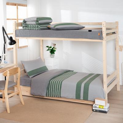 2020新品全棉水洗色织单人宿舍上下铺三件套 学生寝室套件 通用款0.9m床 梦想绿条纹