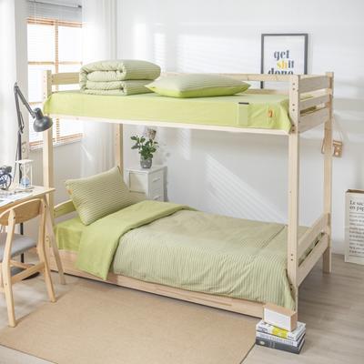 2020新品全棉水洗色织单人宿舍上下铺三件套 学生寝室套件 通用款0.9m床 文艺绿小条
