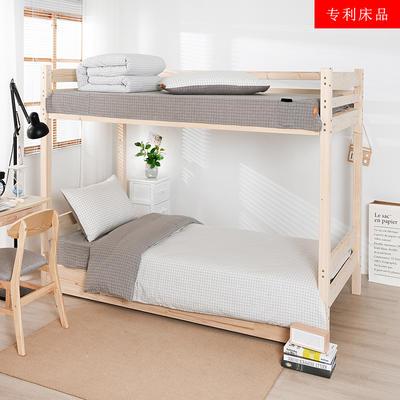 2020新品全棉水洗色织单人宿舍上下铺三件套 学生寝室套件 通用款0.9m床 文艺米小格