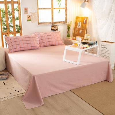 2020新品全棉水洗色织双人床单 寝室加大单床单 240cmx270cm 巴黎-粉小格