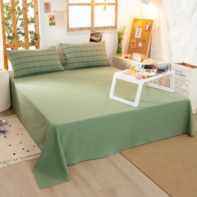 2020新品全棉水洗色织双人床单 寝室加大单床单 240cmx270cm 巴黎-绿小格