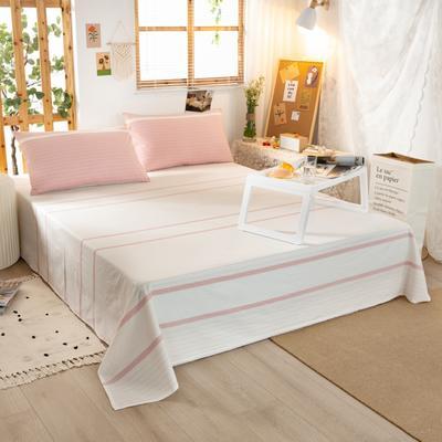 2020新品全棉水洗色织双人床单 寝室加大单床单 240cmx270cm 初恋-粉