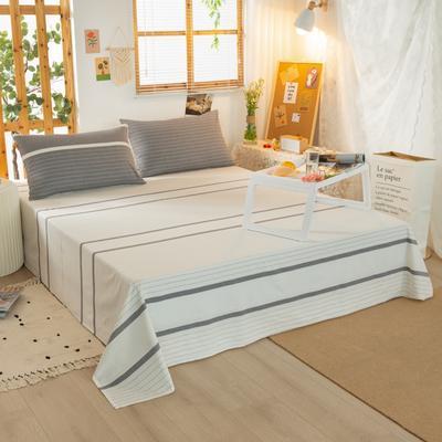 2020新品全棉水洗色织双人床单 寝室加大单床单 240cmx270cm 初恋-灰
