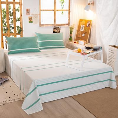 2020新品全棉水洗色织双人床单 寝室加大单床单 240cmx270cm 初恋-绿