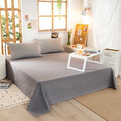 2020新品全棉水洗色织双人床单 寝室加大单床单 240cmx270cm 文艺灰小条
