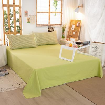 2020新品全棉水洗色织双人床单 寝室加大单床单 240cmx270cm 文艺绿小条