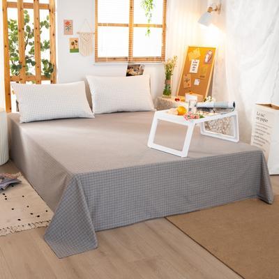 2020新品全棉水洗色织双人床单 寝室加大单床单 240cmx270cm 文艺米小格