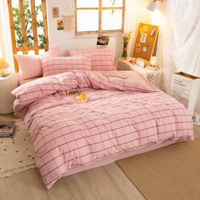 2020新品全棉水洗色织双人被套 寝室加大被罩套子 200X230cm 巴黎-粉小格