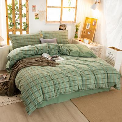 2020新品全棉水洗色织双人被套 寝室加大被罩套子 200X230cm 巴黎-绿小格