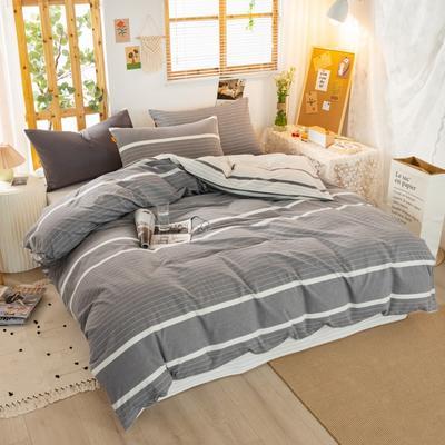 2020新品全棉水洗色织双人被套 寝室加大被罩套子 200X230cm 初恋-灰