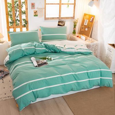 2020新品全棉水洗色织双人被套 寝室加大被罩套子 200X230cm 初恋-绿