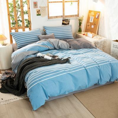 2020新品全棉水洗色织双人被套 寝室加大被罩套子 200X230cm 梦想蓝条纹