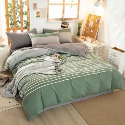 2020新品全棉水洗色织双人被套 寝室加大被罩套子 200X230cm 梦想绿条纹