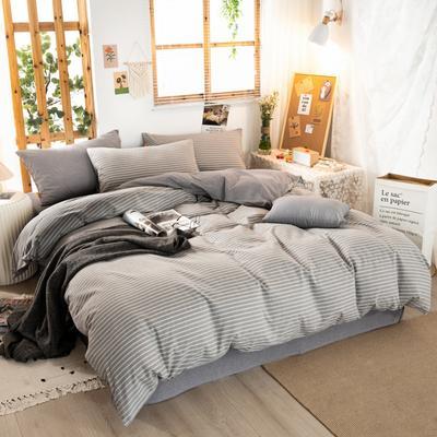 2020新品全棉水洗色织双人被套 寝室加大被罩套子 200X230cm 文艺灰小条