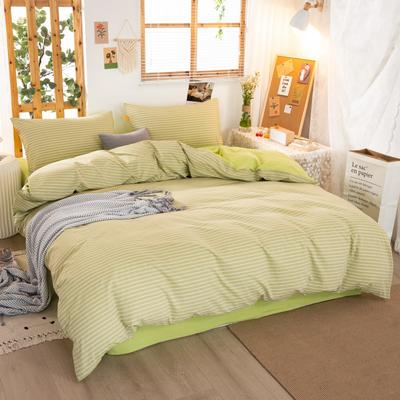 2020新品全棉水洗色织双人被套 寝室加大被罩套子 220x240cm 文艺绿小条