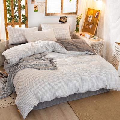 2020新品全棉水洗色织双人被套 寝室加大被罩套子 200X230cm 文艺绿小条