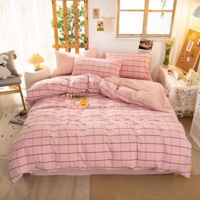 2020新品全棉水洗色织双人四件套 寝室床上用品套件 1.8m床单款四件套 巴黎-粉小格