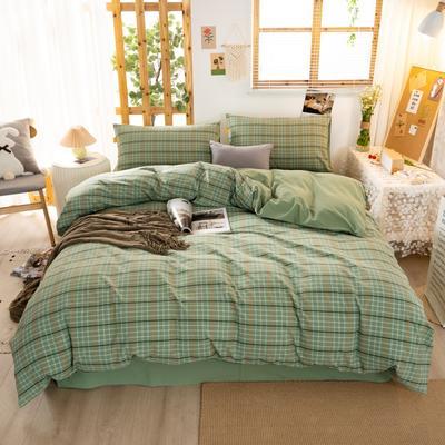 2020新品全棉水洗色织双人四件套 寝室床上用品套件 1.8m床单款四件套 巴黎-绿小格