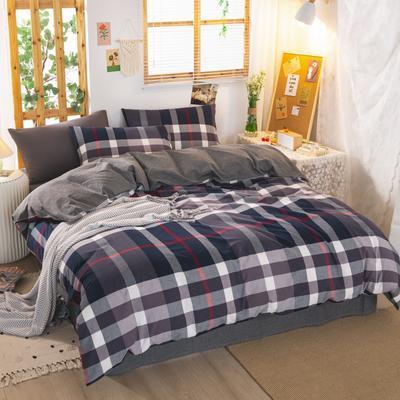 2020新品全棉水洗色织双人四件套 寝室床上用品套件 1.8m床单款四件套 宝莉格