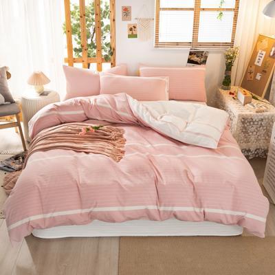 2020新品全棉水洗色织双人四件套 寝室床上用品套件 1.8m床单款四件套 初恋-粉