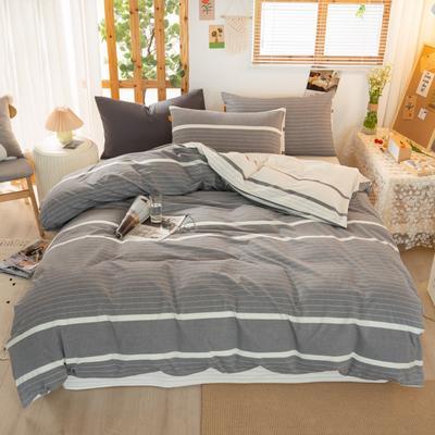 2020新品全棉水洗色织双人四件套 寝室床上用品套件 1.8m床单款四件套 初恋-灰