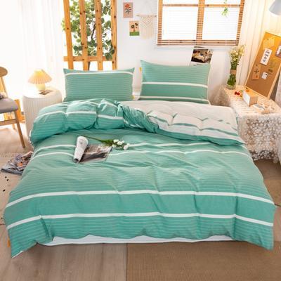 2020新品全棉水洗色织双人四件套 寝室床上用品套件 1.8m床单款四件套 初恋-绿