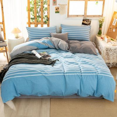 2020新品全棉水洗色织双人四件套 寝室床上用品套件 1.8m床单款四件套 梦想蓝条纹