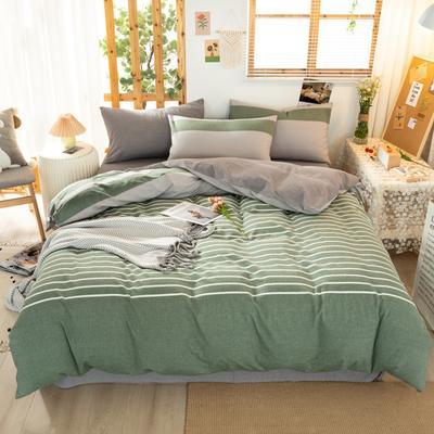 2020新品全棉水洗色织双人四件套 寝室床上用品套件 1.8m床单款四件套 梦想绿条纹