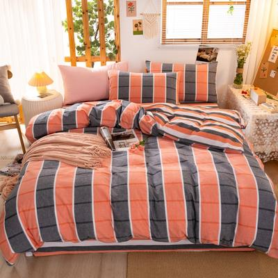 2020新品全棉水洗色织双人四件套 寝室床上用品套件 1.8m床单款四件套 你好色彩-桔灰格