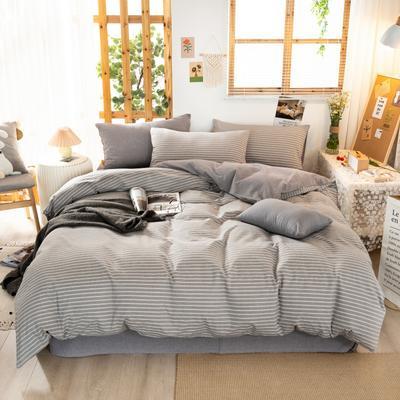 2020新品全棉水洗色织双人四件套 寝室床上用品套件 1.8m床单款四件套 文艺灰小条