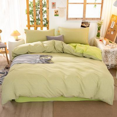 2020新品全棉水洗色织双人四件套 寝室床上用品套件 1.8m床单款四件套 文艺绿小条