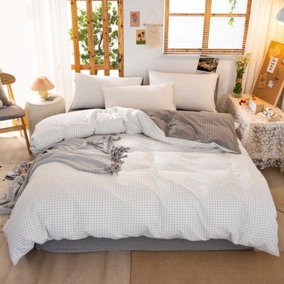 2020新品全棉水洗色织双人四件套 寝室床上用品套件 1.8m床单款四件套 文艺米小格