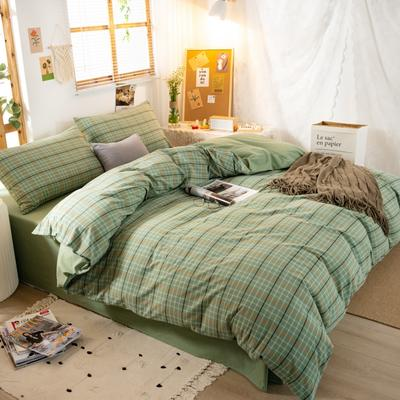 2020新品全棉水洗色织单双人被套 单人宿舍被套 双人加大被罩套子 150X210cm 巴黎-绿小格
