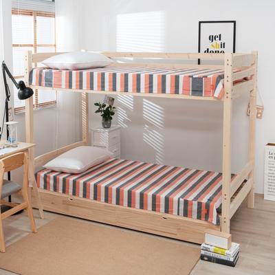 2020新品全棉水洗色织单双人床单 单人宿舍上下铺学生床单 双人加大床单 150*200cm 你好色彩-桔灰格