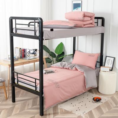 2020新款全棉贡缎60支学生宿舍三件套 纯棉单人寝室上下铺床品套件 通用款1.0床 豆沙