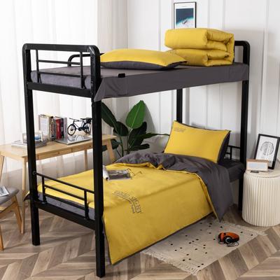 2020新款全棉贡缎60支学生宿舍三件套 纯棉单人寝室上下铺床品套件 通用款1.0床 嫩黄