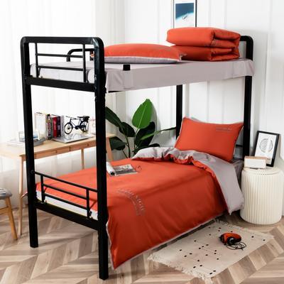 2020新款全棉贡缎60支学生宿舍三件套 纯棉单人寝室上下铺床品套件 通用款1.0床 铁锈红