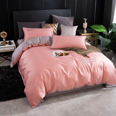 2020新品纯棉贡缎60S双人被套 全棉纯色刺绣床上用品单被罩 220x240cm 豆沙
