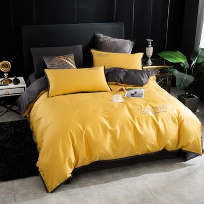 2020新品纯棉贡缎60S双人被套 全棉纯色刺绣床上用品单被罩 220x240cm 嫩黄
