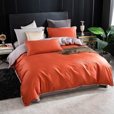 2020新品纯棉贡缎60S双人被套 全棉纯色刺绣床上用品单被罩 220x240cm 铁锈红
