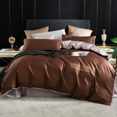 2020新品纯棉贡缎60S双人四件套 全棉纯色刺绣宽边床上用品套件 1.8m床单款四件套 咖啡