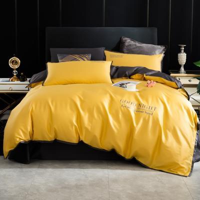 2020新品纯棉贡缎60S双人四件套 全棉纯色刺绣宽边床上用品套件 1.8m床单款四件套 嫩黄