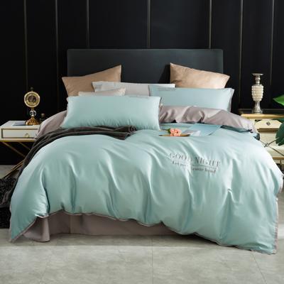 2020新品纯棉贡缎60S双人四件套 全棉纯色刺绣宽边床上用品套件 1.8m床单款四件套 水绿