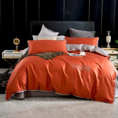 2020新品纯棉贡缎60S双人四件套 全棉纯色刺绣宽边床上用品套件 1.8m床单款四件套 铁锈红