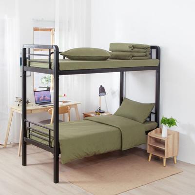 2020新款全棉三件套 纯棉军绿单人床单三件套 床上用品套件 1.0m床单款三件套 军绿 普通款