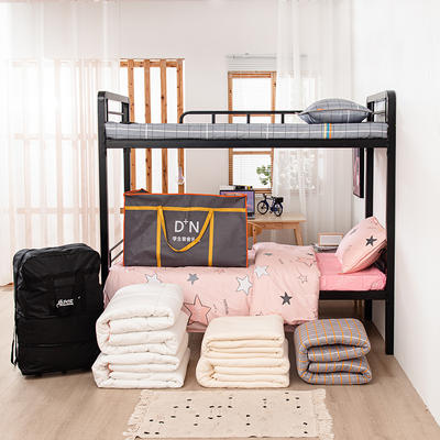 2020新品全棉13372套件 学生单人上下铺宿舍多件套床上用品 0.9米床 五件套1 洛卡恋曲-灰