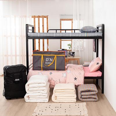 2020新品全棉13372套件 学生单人上下铺宿舍多件套床上用品 0.9米床 五件套1 时尚悦格-蓝