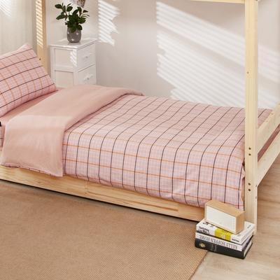 2020新品全棉水洗色织单人宿舍被套 学生寝室单被套 150X210cm 巴黎-粉小格