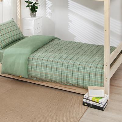 2020新品全棉水洗色织单人宿舍被套 学生寝室单被套 150X210cm 巴黎-绿小格